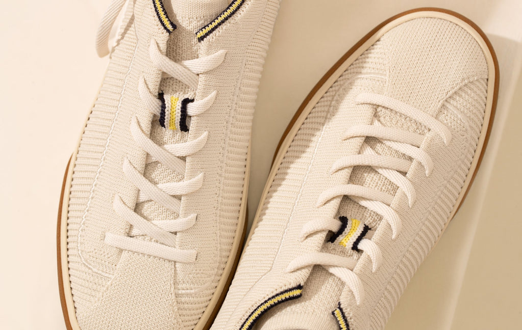 The Lace Up in Vanilla, photographed from the top against a cream background.