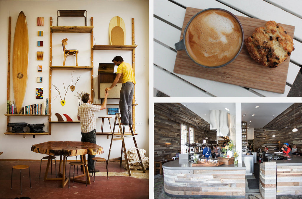 "Clockwise from top right: Andytown Coffee <a href=""http://brianaaugustina.com/2016/01/24/andytown-coffee-roasters-a-tribute/"">via Briana Augustina</a>, Outerlands <a href=""http://www.concreteworks.com/2014/06/03/outerlands-now-open/"">via Concreteworks</a>, Woodshop <a href=""http://lianne-milton.photoshelter.com/image/I000058SqG_YrCJc"">via Lianne Milton</a>."