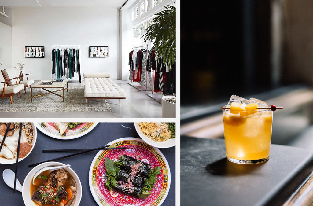 "Clockwise from top right: Trick Dog <a href=""https://lifeandthyme.com/spirits/bon-vivants-trick-dog/"">via Life & Thyme</a>, Mission Chinese Food <a href=""http://www.bonappetit.com/restaurants-travel/article/9-mission-chinese-food-san-francisco-ca-and-nyc"">via Bon Appetit</a>, Reformation <a href=""http://www.sfgate.com/style/windowshopping/article/Reformation-boutique-brings-e-commerce-ease-to-SF-10951439.php"">via SF Gate</a>."