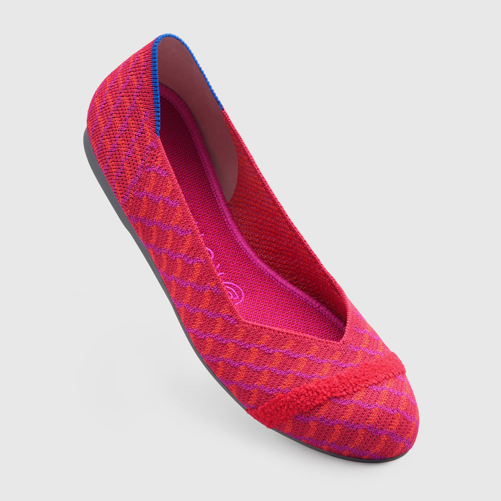 The Flat round toe shoe in Pomegranate Grid shown from the front at an angle.