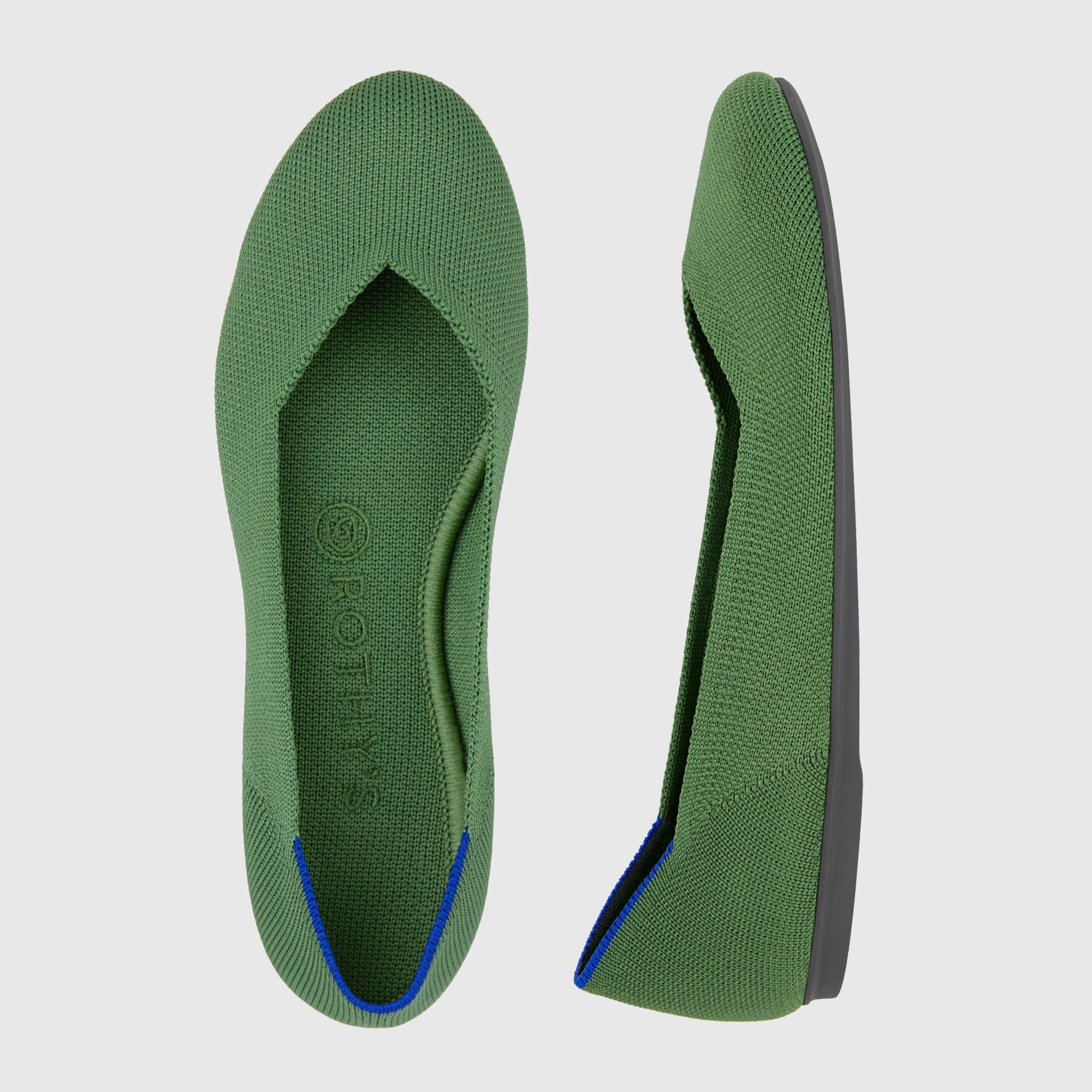 The Flat round toe shoe in Willow shown from the top alongside a side view showing the outsole.