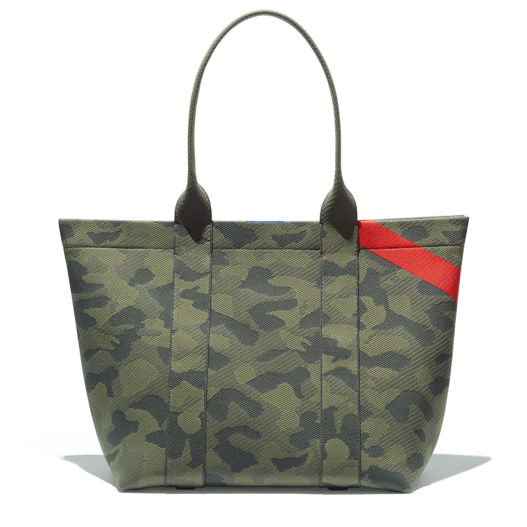 The Essential Tote in Sage Camo shown from the front.