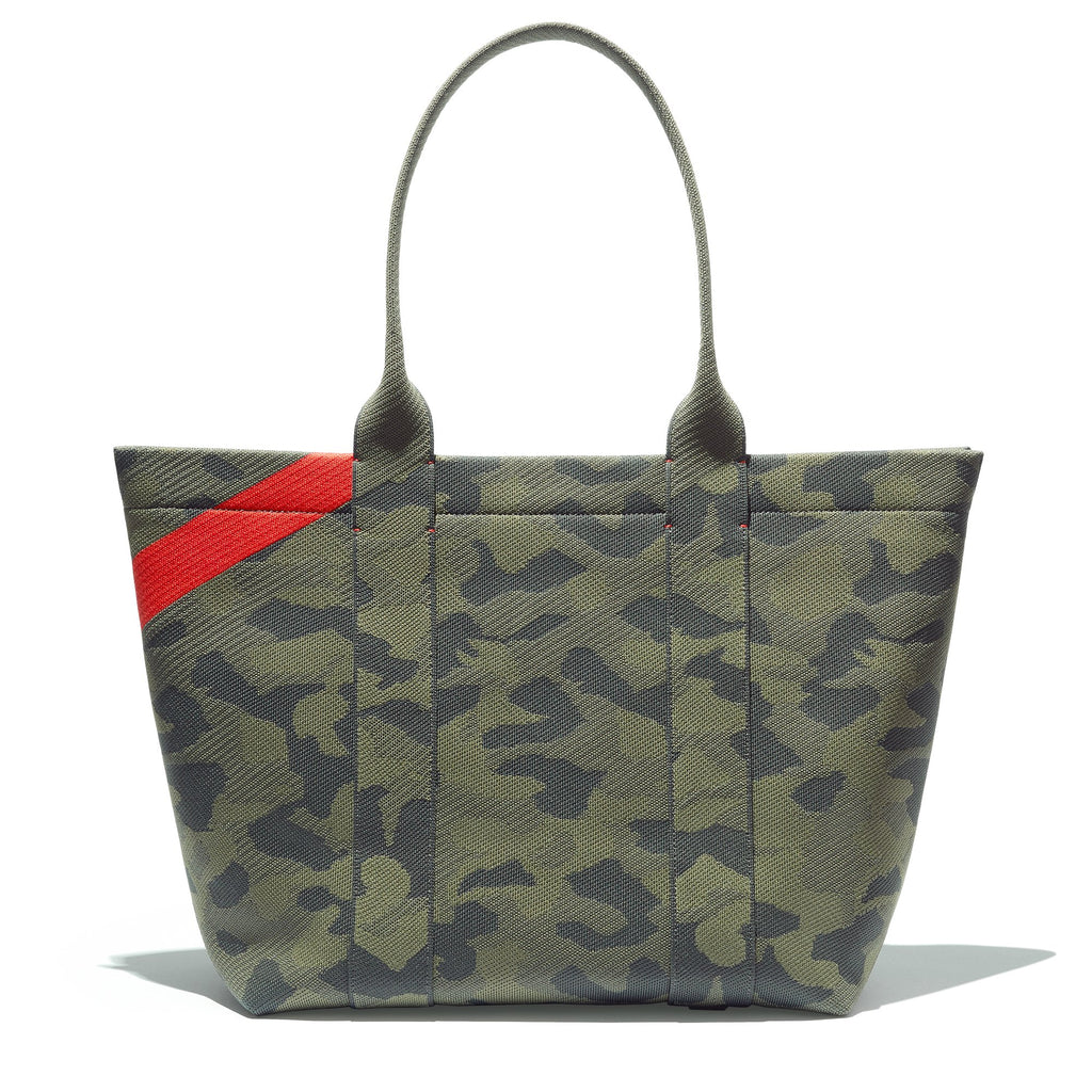 The Essential Tote in Sage Camo shown from the back.