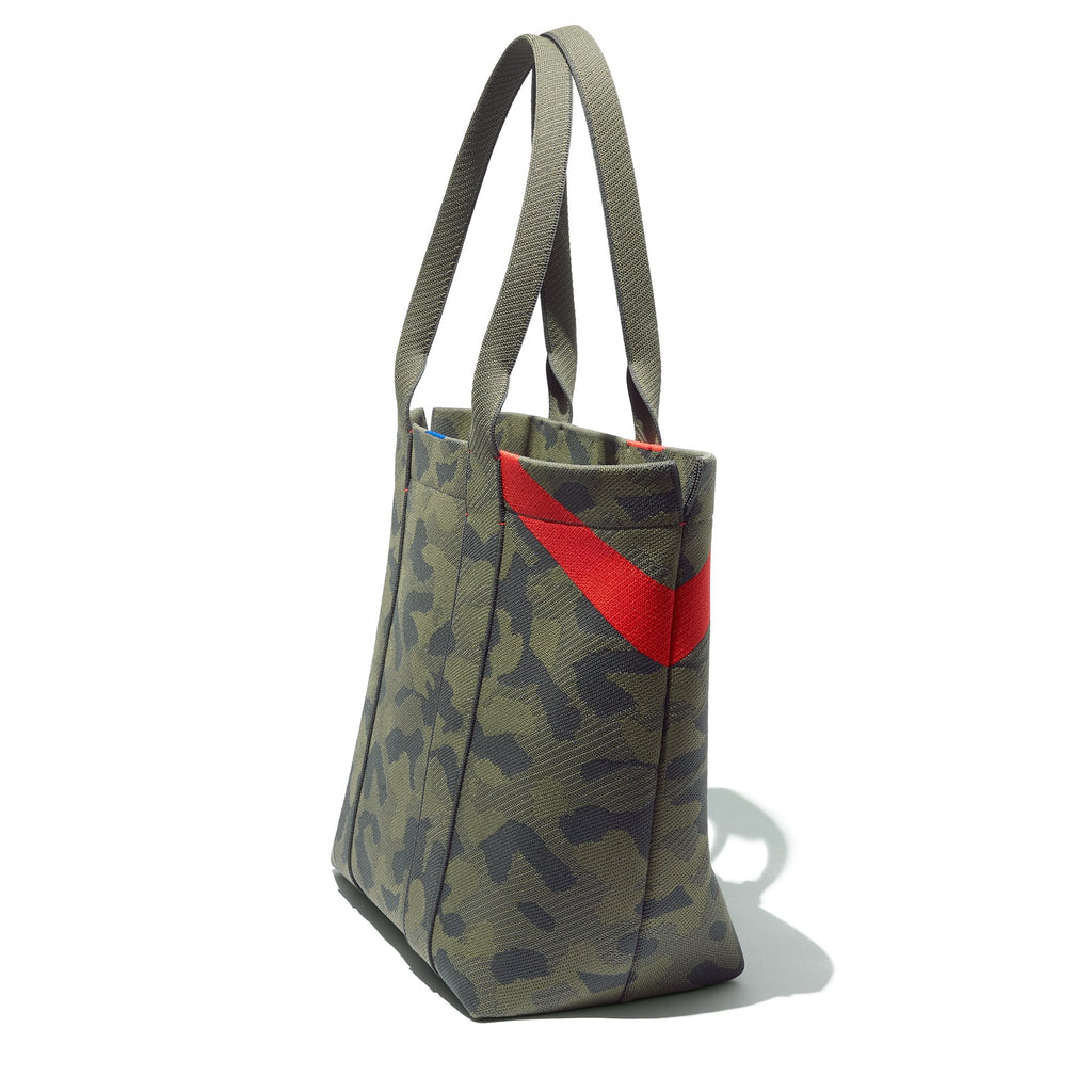 The Essential Tote in Sage Camo shown in diagonal view.