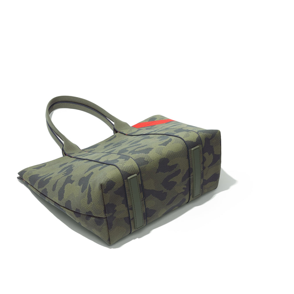 The Essential Tote in Sage Camo shown laid down.