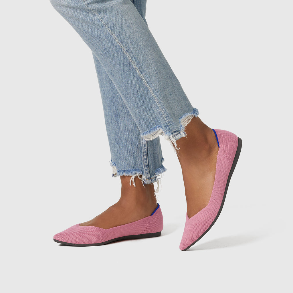 The Point shoe in Rosebud shown on-model at an angle.