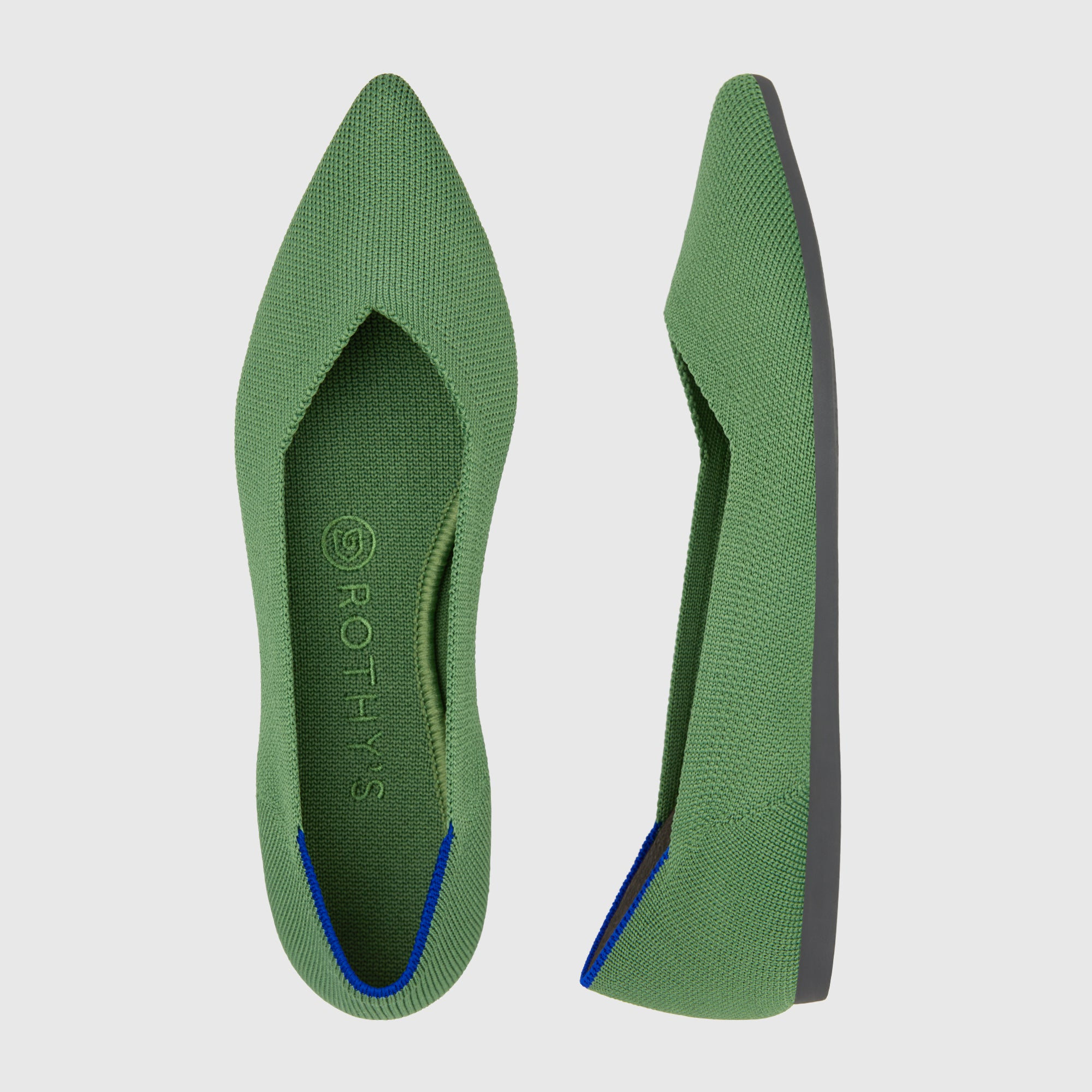 The Point shoe in Willow shown from the top alongside a side view showing the outsole.