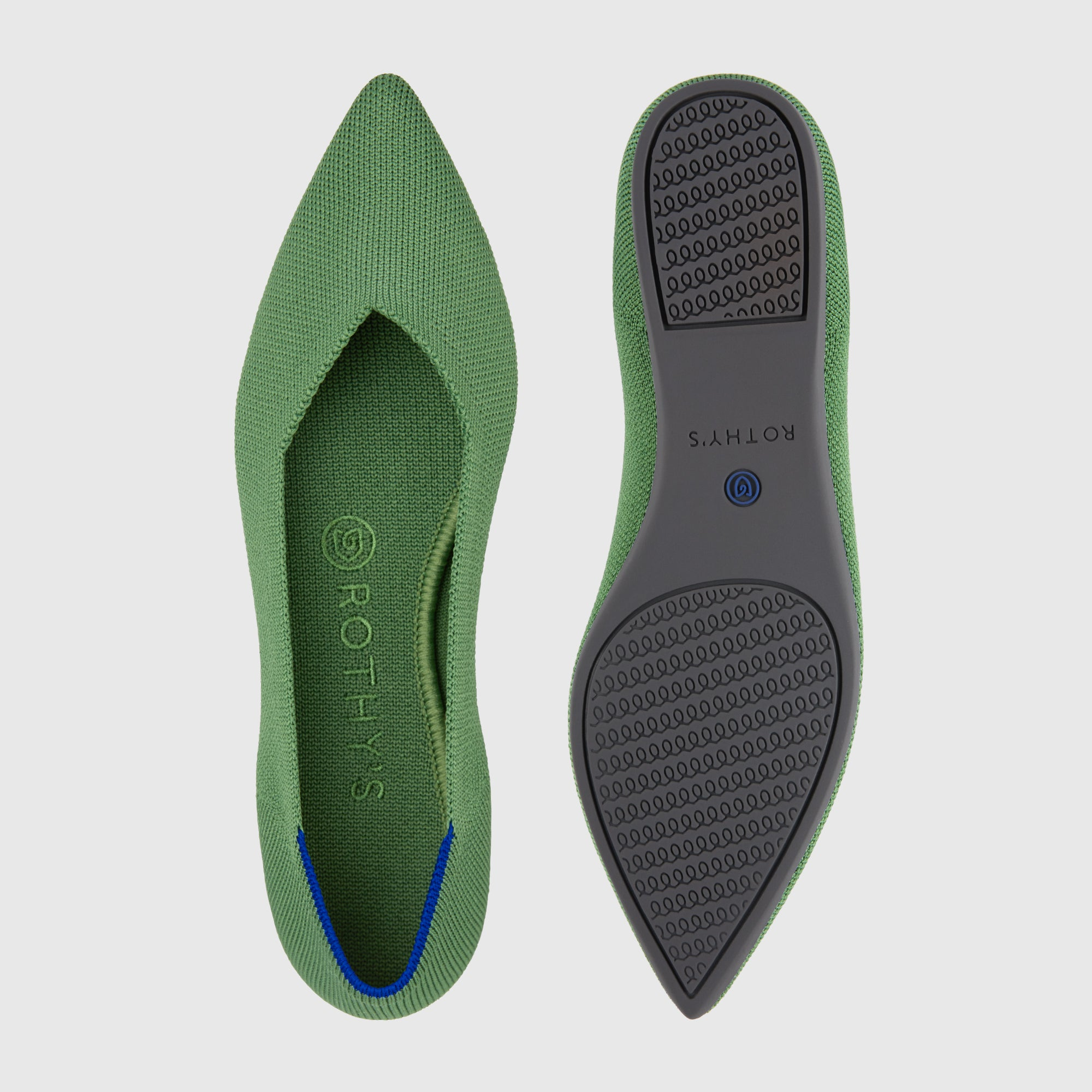 The Point shoe in Willow shown from the top alongside a view of the sole.