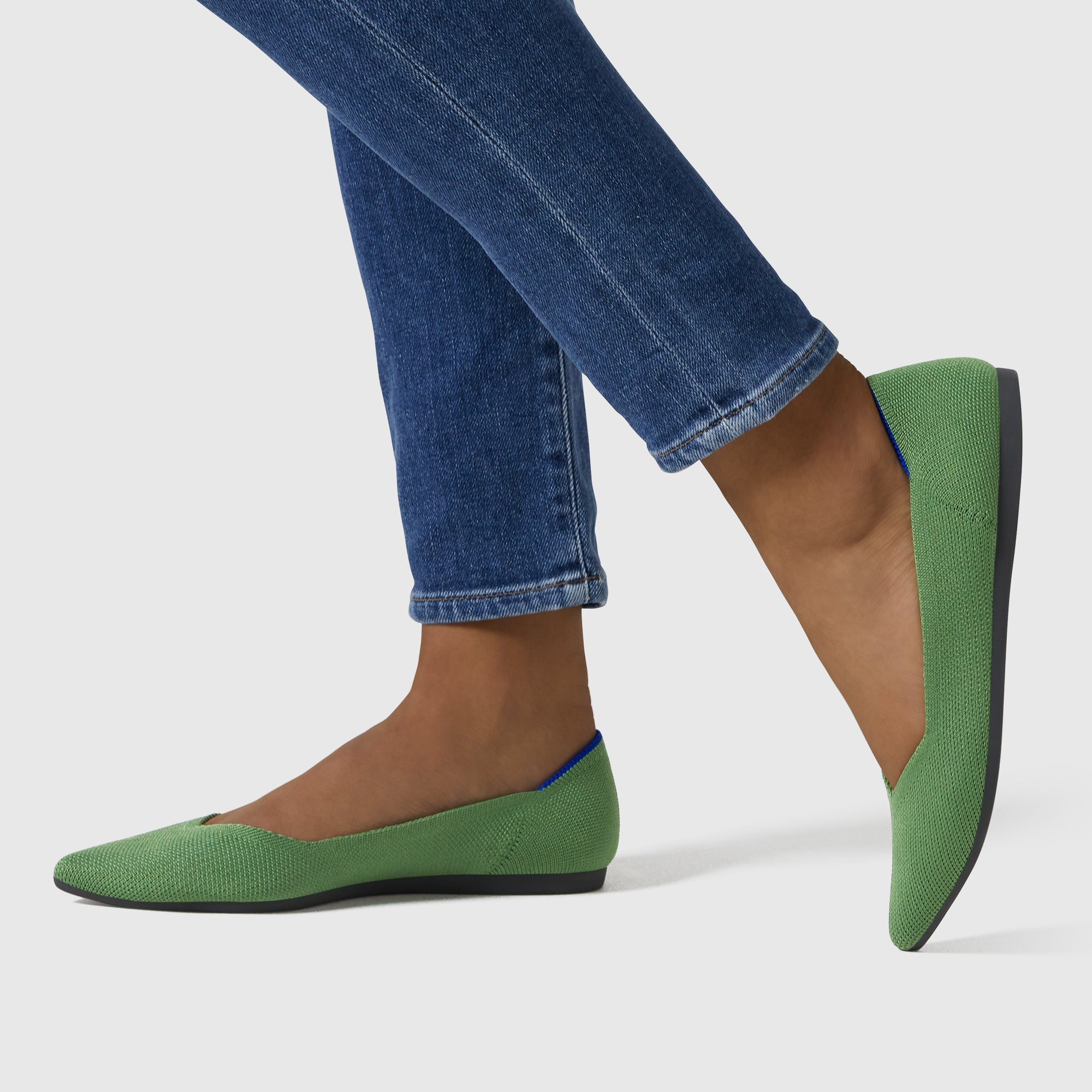 The Point shoe in Willow shown on-model at an angle.