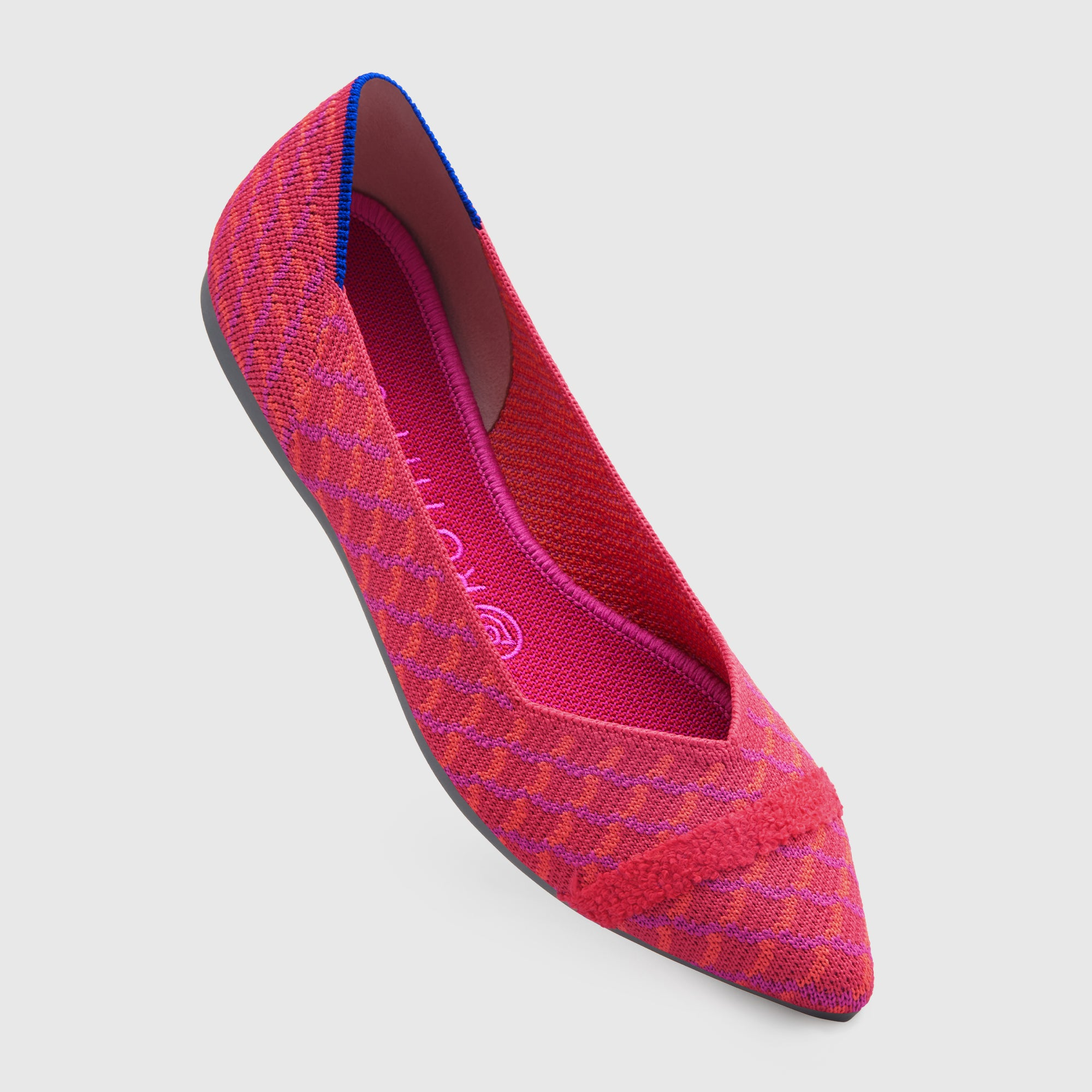 The Point shoe in Pomegranate Grid shown from the front at an angle.
