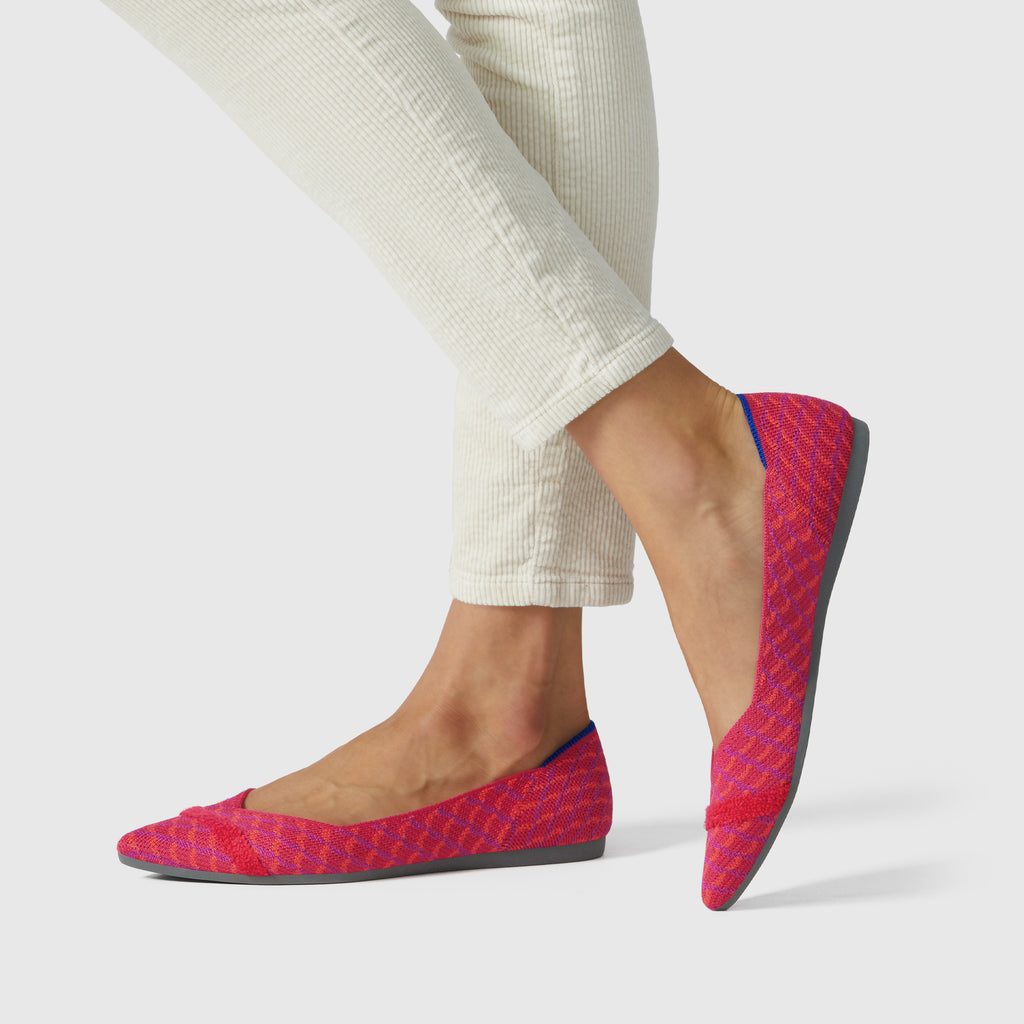 The Point shoe in Pomegranate Grid shown on-model at an angle.