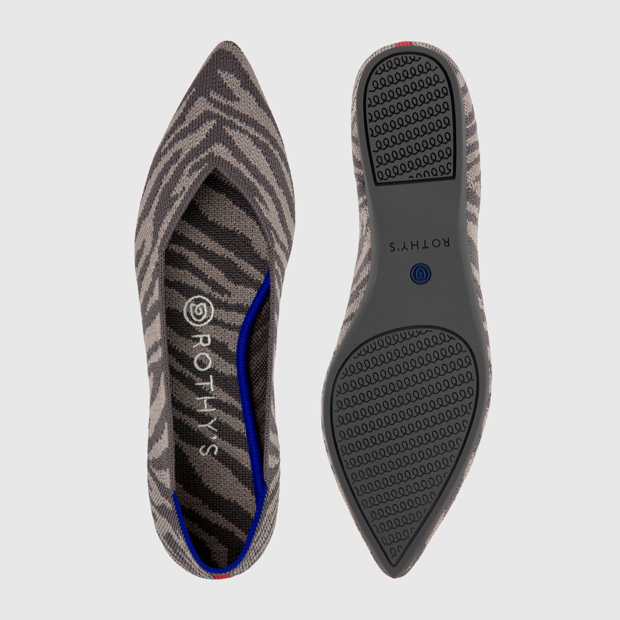 The Point shoe in Grey Zebra shown from the top alongside a view of the sole.
