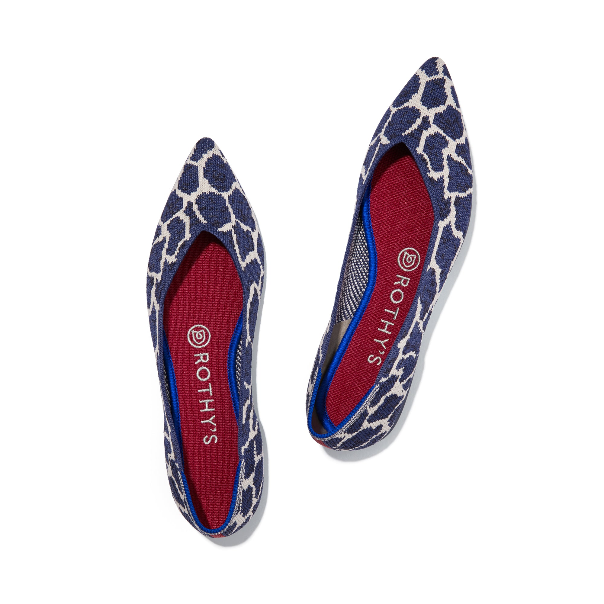 A pair of The Point shoe in Indigo Giraffe shown from the top view.