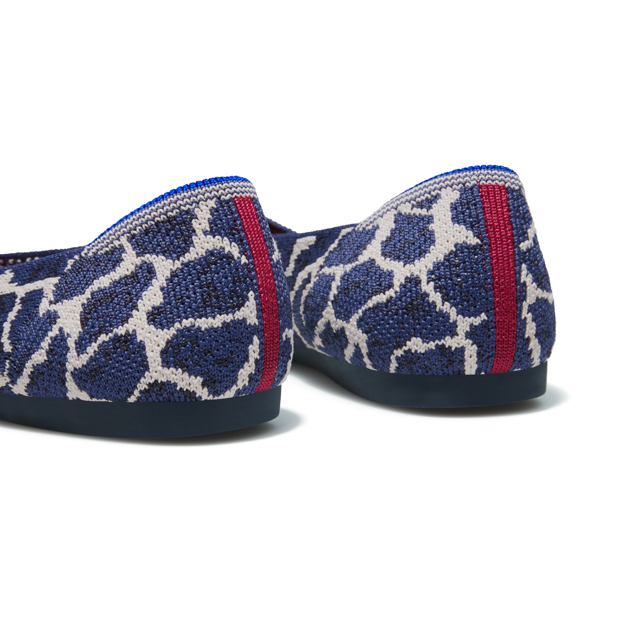The Point shoe in Indigo Giraffe shown from the back view with the heel detail.