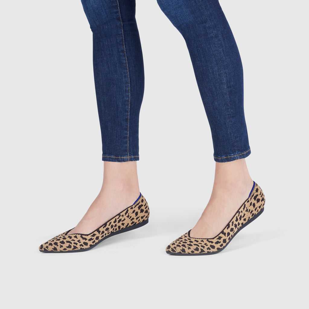The Point shoe in Leopard shown on-model at an angle.