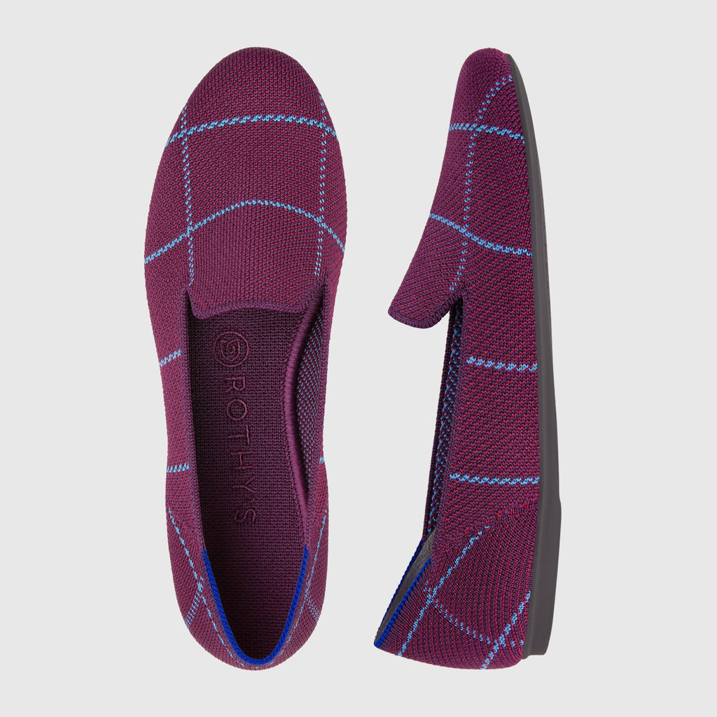 The Loafer in Burgundy Grid shown from the top alongside a side view showing the outsole.