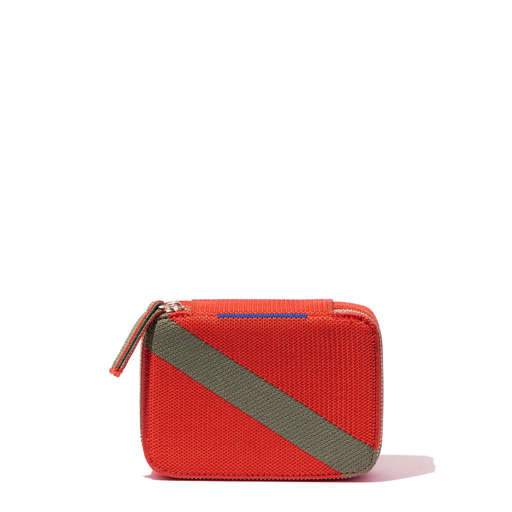 The Mini Catchall in Bright Poppy shown from the front.
