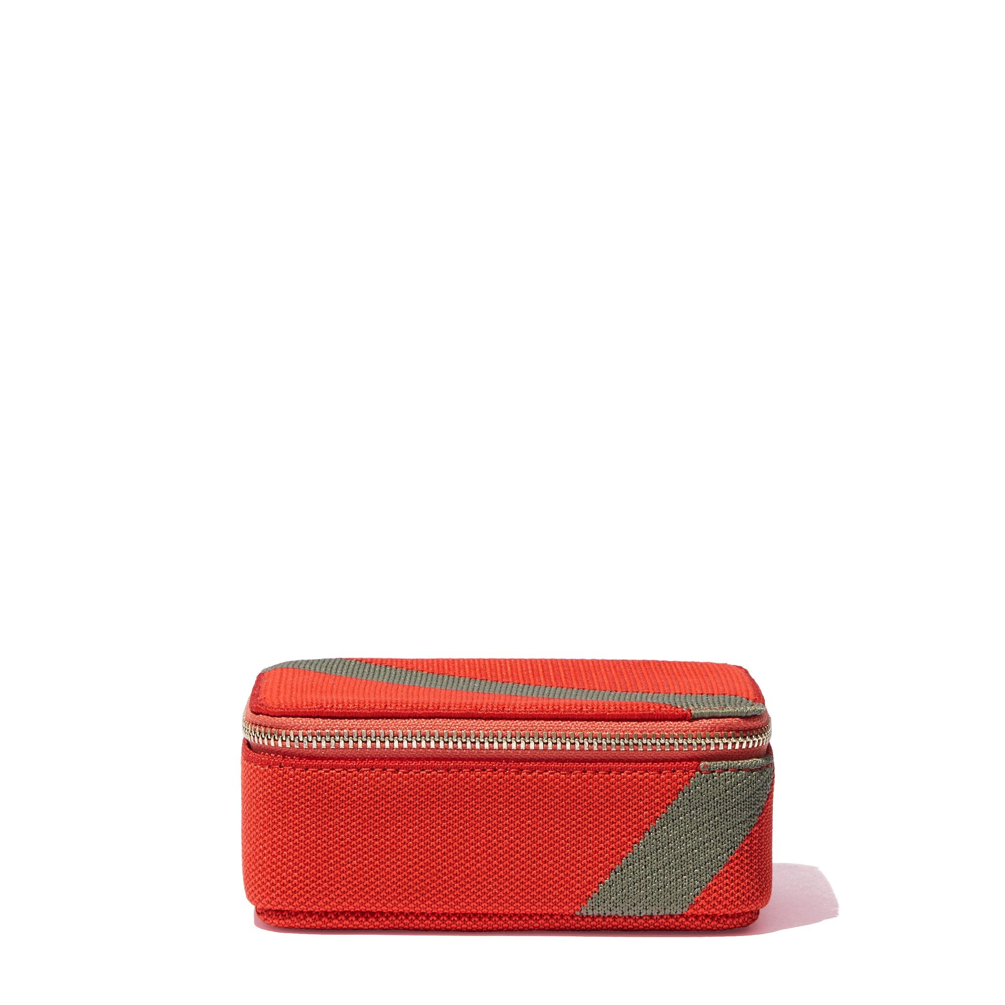 The Mini Catchall in Bright Poppy shown from the side.