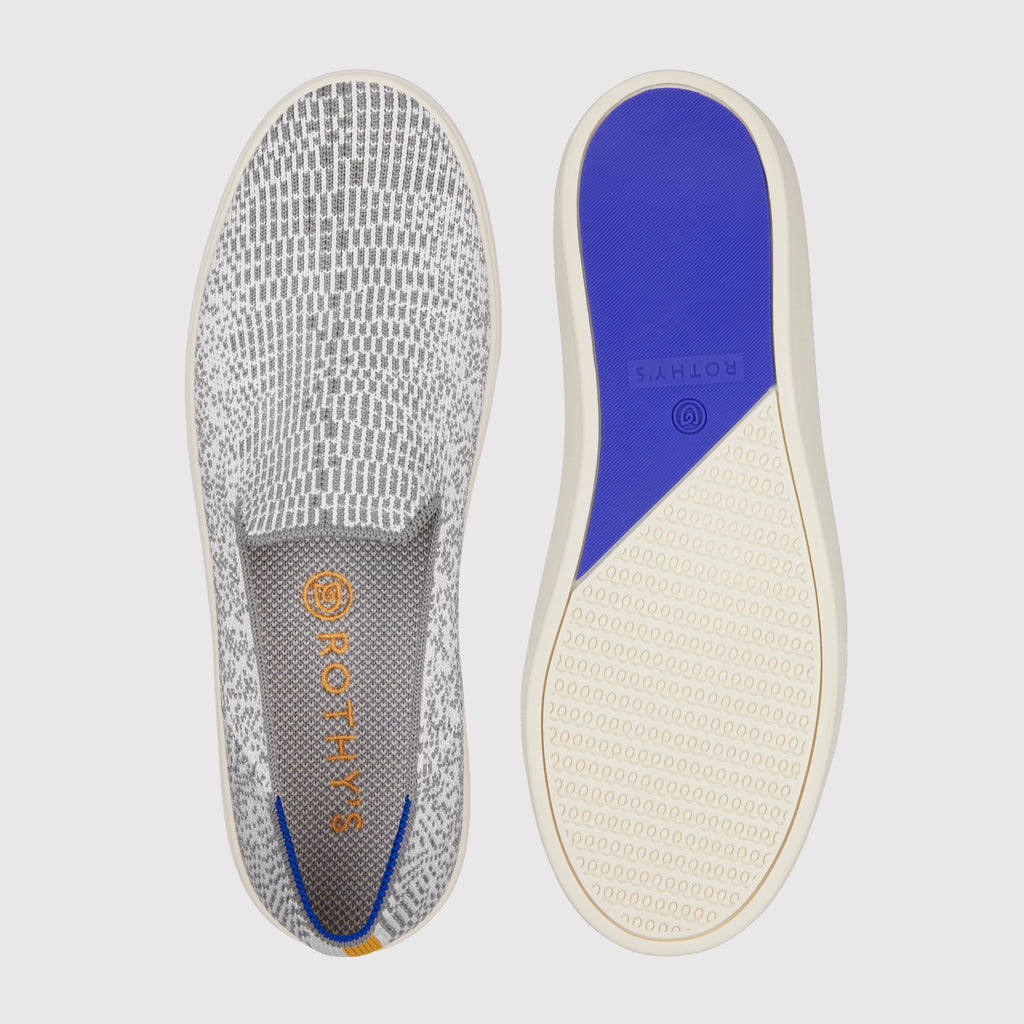 The Sneaker in Opal Python shown from the top alongside a view of the sole.