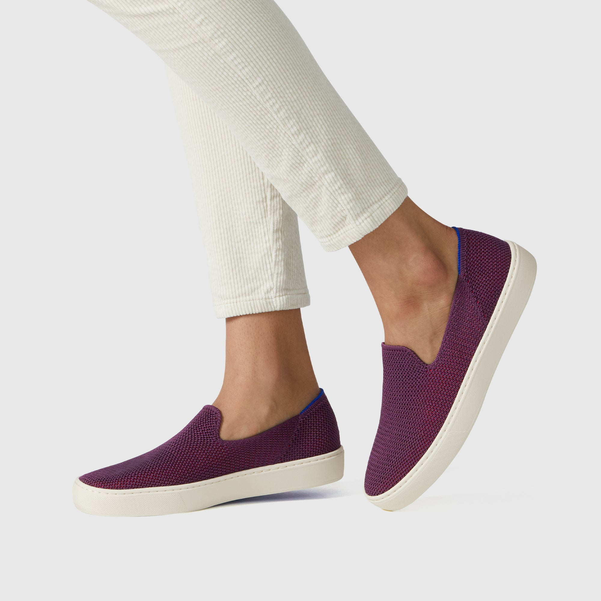 The Sneaker in Berry Lattice Stitch shown on-model at an angle.