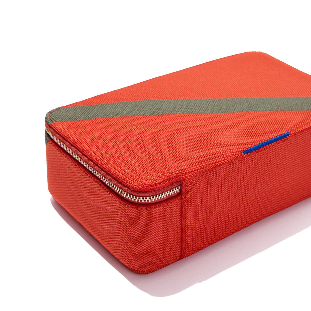 The Large Catchall in Bright Poppy shown from the back with halo detail.