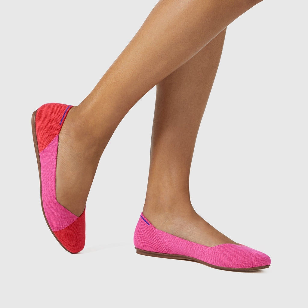 The Square Toe Flat in Flame Azalea shown on-model at an angle.