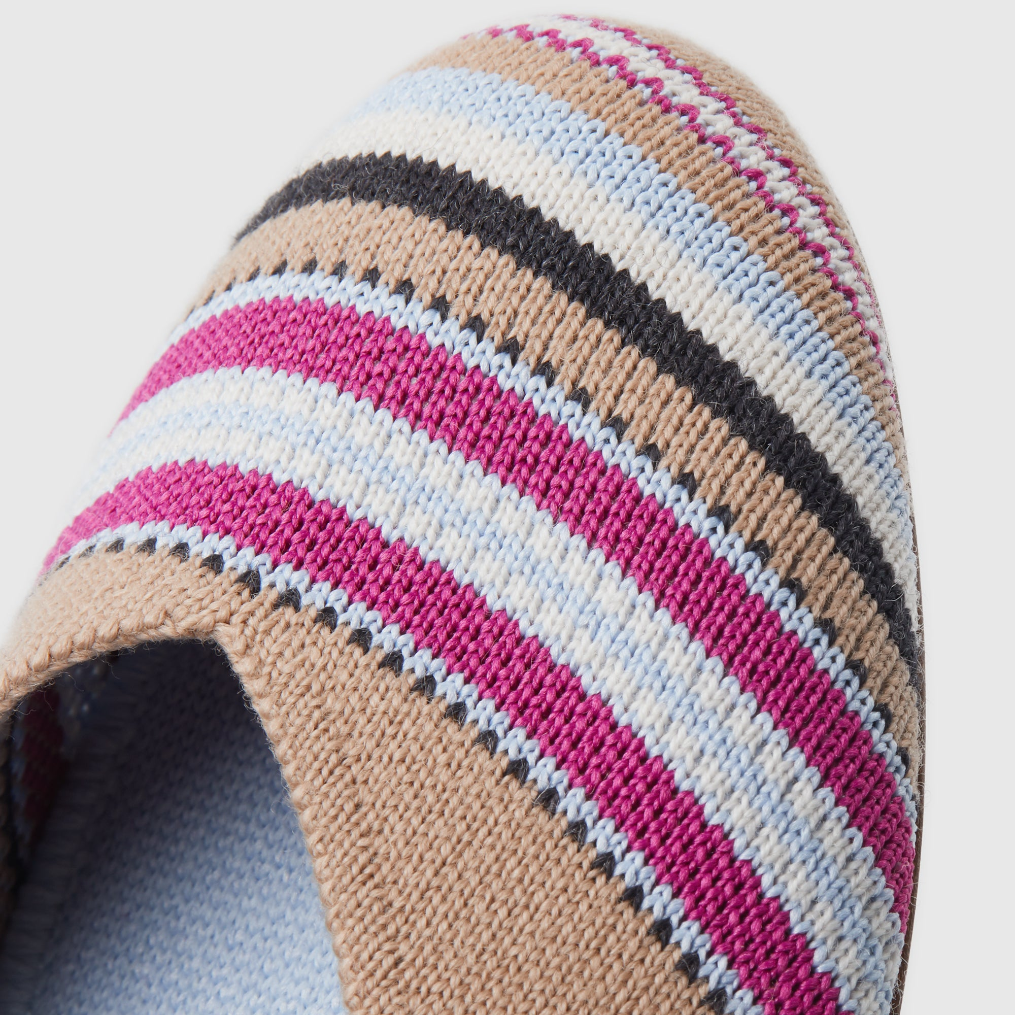 The Merino Flat in Camel Ribbon Stripe shown in detail.