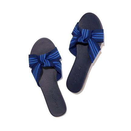A pair of The Knot sandals in Cobalt Stripe shown from the top view.