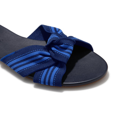 The Knot sandal in Cobalt Stripe shown from a front angle with strap detail.