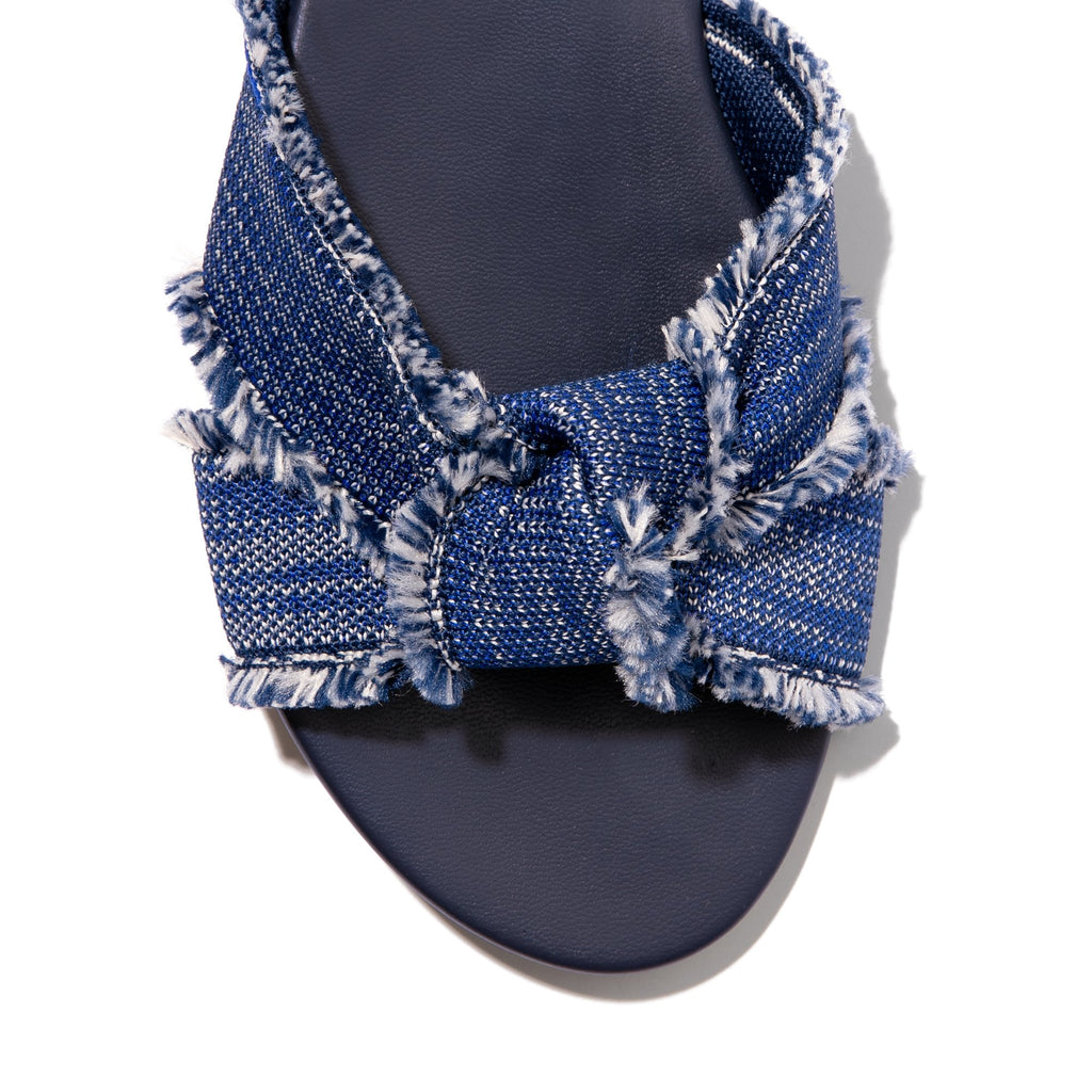 The Knot sandal in Indigo Fringe shown from the top view with detailing of the front of the sandal.