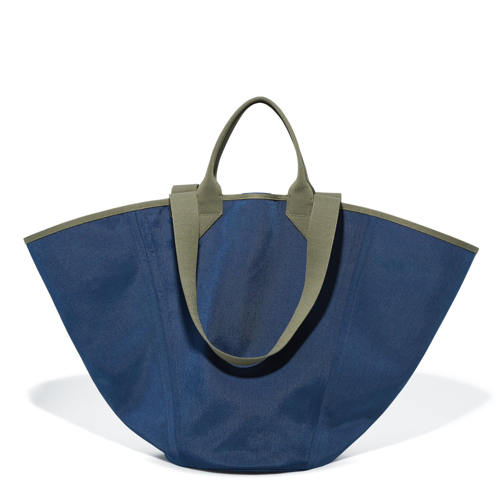 The Reversible Tote in Navy & Pink shown from the front.