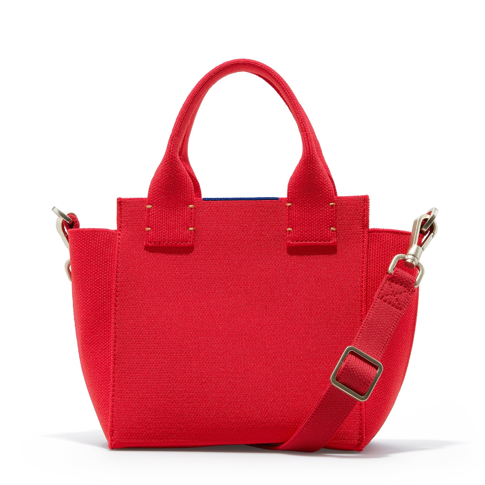 The Mini Handbag in Candy Apple shown from the front.