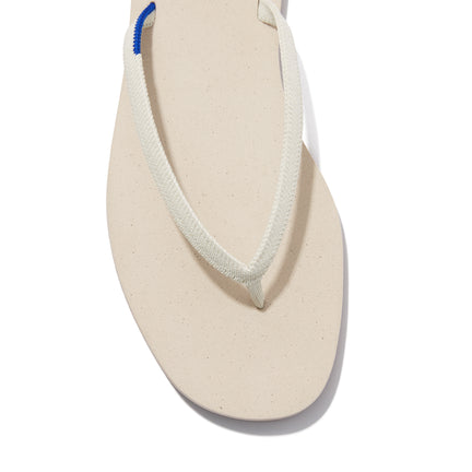 The Flip Flop sandal in Coconut shown from the top view with detailing of the front of the sandal.