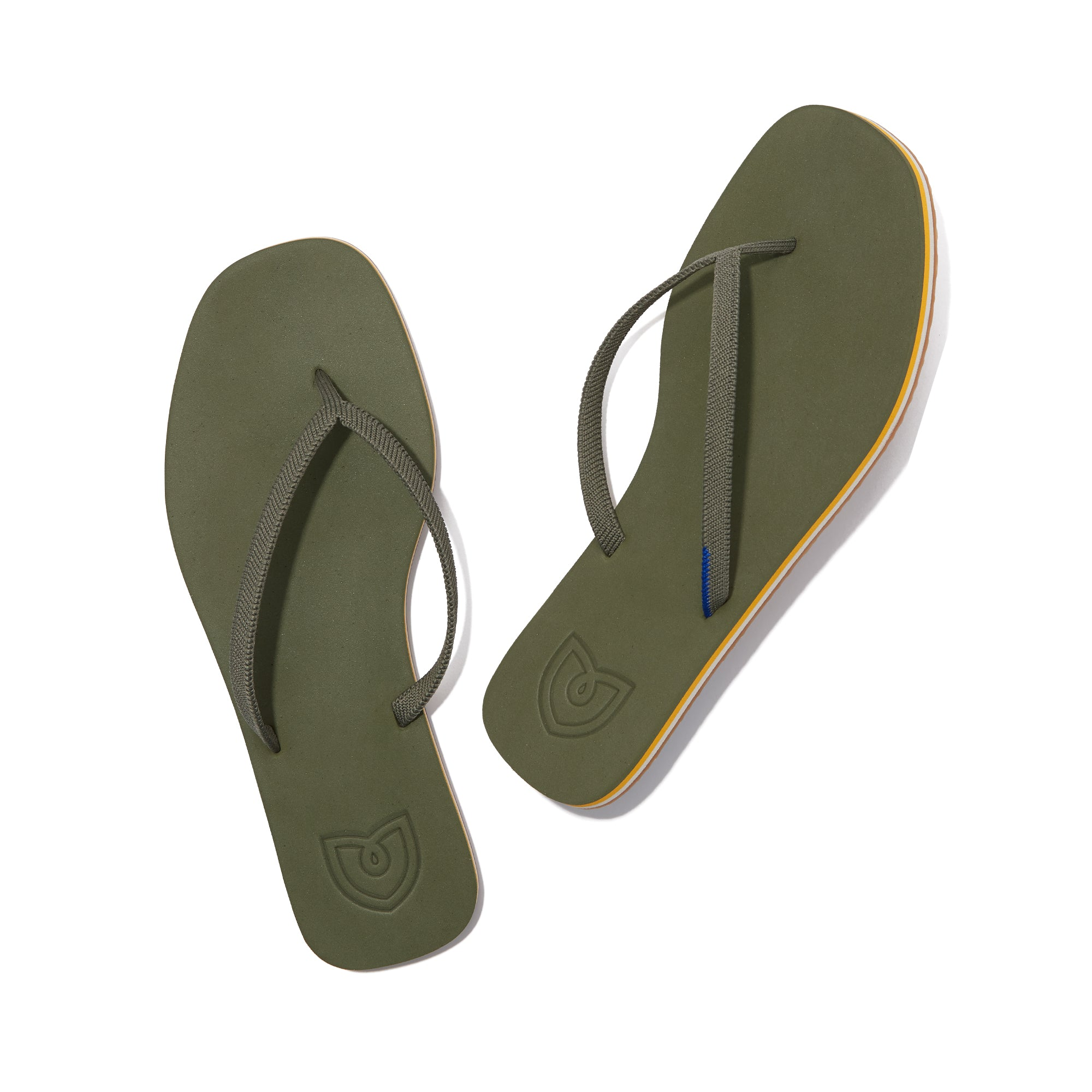 A pair of The Flip Flop sandals in Grasshopper shown from the top view.
