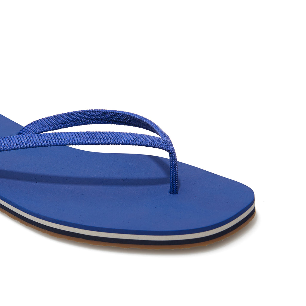 The Flip Flop sandal in Splash shown from the top view with detailing of the front of the sandal.