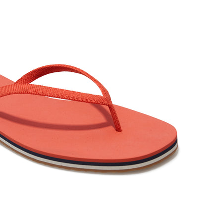 The Flip Flop sandal in Tiger shown from the top view with detailing of the front of the sandal.