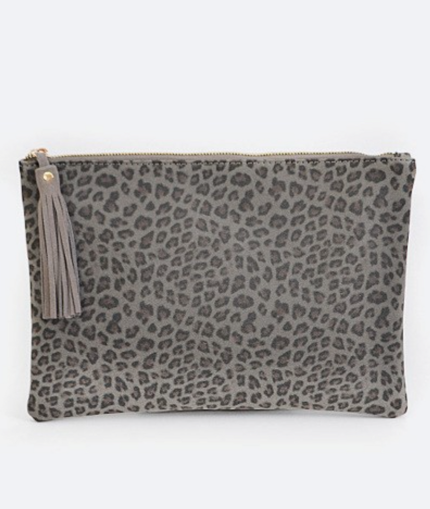 Leopard Print Clutch with Tassel