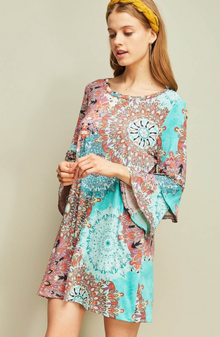 Tiara Tiered Bell Sleeve Dress