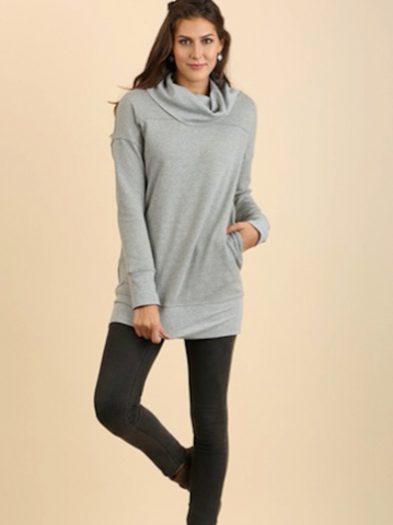 Cowl Neck Long Sleeve Tunic with Pockets