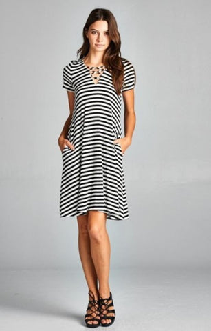 In My Minds Tie Striped Dress