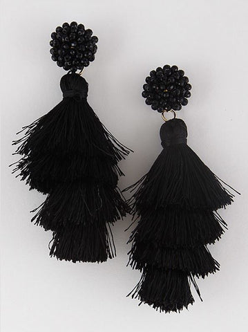 Fringe Tassel Earrings - Black or Grey
