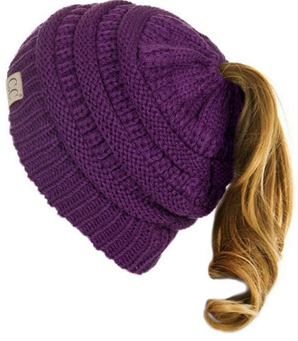 C.C. Children's Ponytail Beanie - Purple