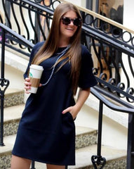 Sonya Bell Sleeve Dress - Navy