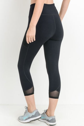 Mesh Insert Crop Leggings by Mono B - Black