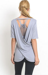 Criss-Cross Back Active Top by Mono B - Blue