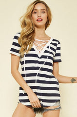 Seeing Stripes Lace-Up Top