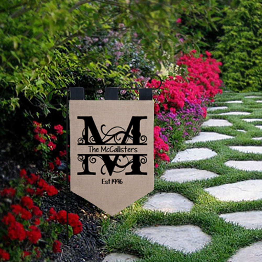garden flags personalized. Personalized Burlap Garden Flag Flags