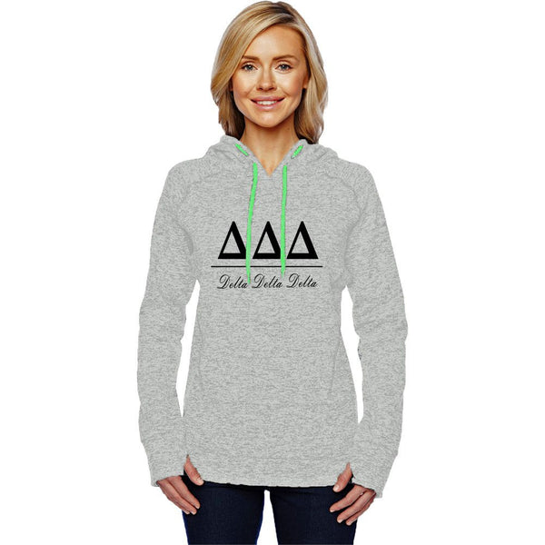 Sorority Black Greek Lettering Gray Pullover Hooded Sweatshirt