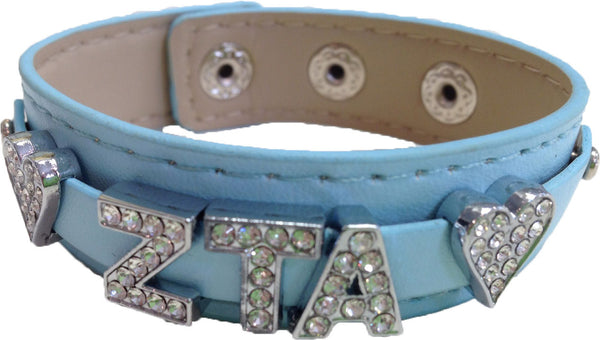 Sorority Leather Bling Bracelets with Crystal Greek Letters