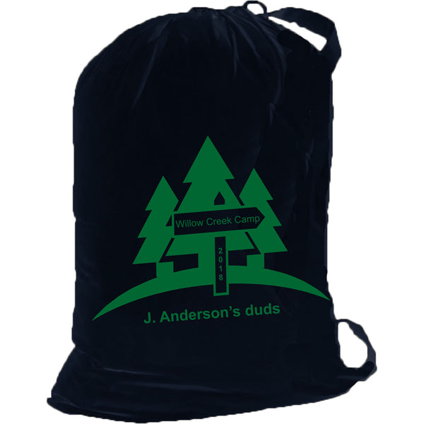 Personalized Camping Cotton Laundry Bag w/ Shoulder Strap